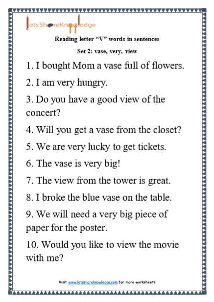 Letter Sentences by Kindergarten Reading Practice For Letter Quot V Quot Words In