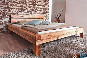 Massivholz Bett 160x200 Balkenbett Rustikal Doppelbett