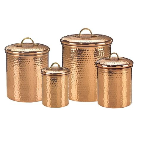 decorative kitchen canisters sets decor copper hammered canister set 4 843