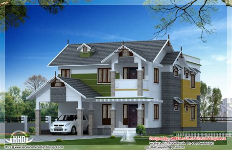C&s Home Design : Beautiful Sloping Roof House Design