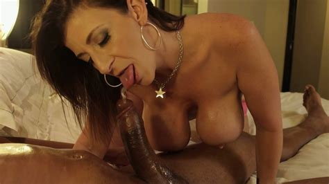 Busty horny MILF Sara Jay had nice oral sex with black stud