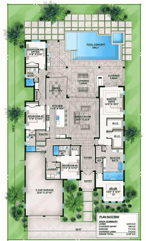 outdoor living floor plans florida house plan with indoor outdoor living 86023bw