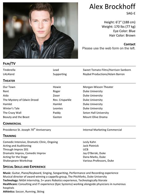 Professional Theater Resume by Resume Alex Brockhoff