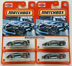 If color is important to you, here are some of the hues you may be able to choose from: 2021 Matchbox 2018 Bugatti Divo Black and Blue Trim 39/100 Lot of 4 | eBay