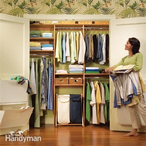 closet organization  simple shelf  rod system