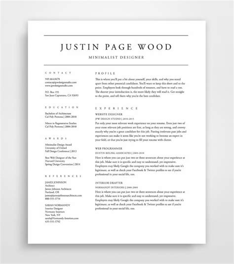 Can You Put A Resume On Cardstock by Professional Resume Template Resume Resume Template Cv