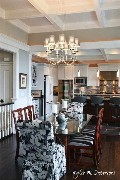 open concept dining room  kitchen  coffered