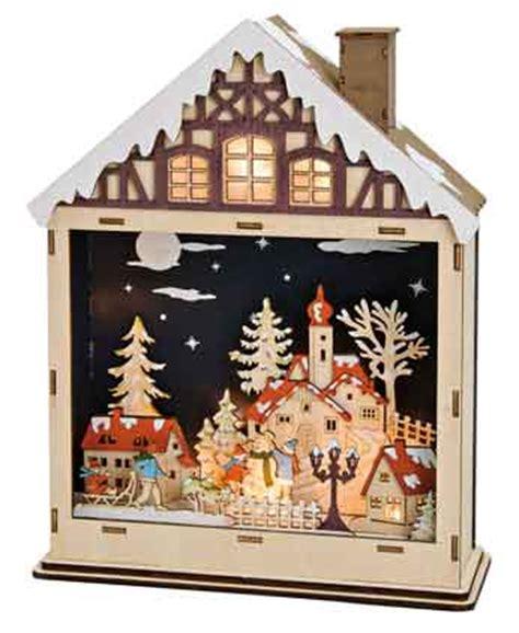 Holzhaus Beleuchtet Deko by Winterszene Haus Holz Mit Beleuchtung 17367w