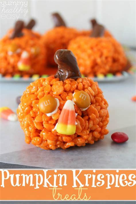 easy fall treats easy pumpkin krispies treats yummy healthy easy