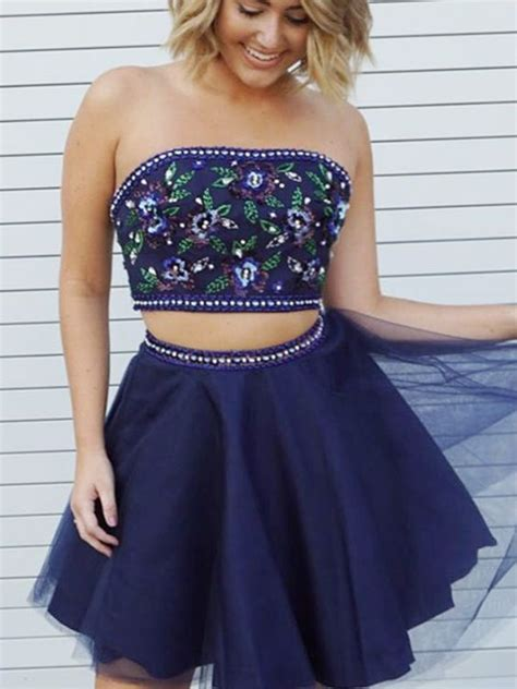 Cute A Line Two Piece Sweetheart Navy Short Homecoming ...