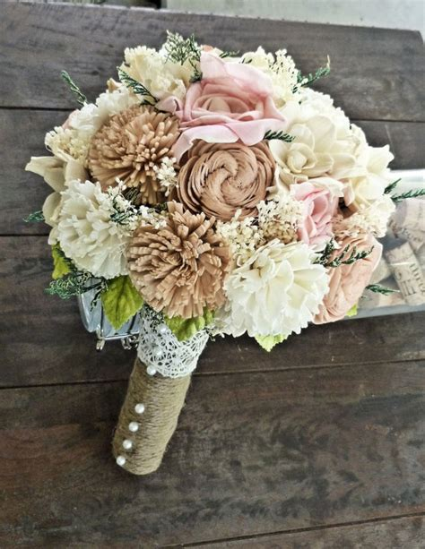 shabby chic bridal bouquet romantic wedding bouquet natural bridal bouquet by curiousfloral