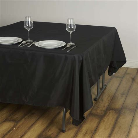 "90x90"" Square Polyester Tablecloth  Black, White Or Ivory"