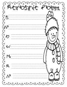 cute snowman acrostic poem   winter season