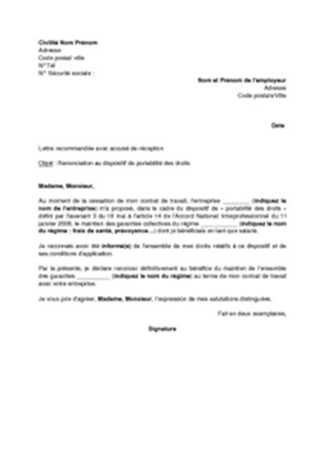 modèle de lettre de renonciation exemple gratuit de lettre renonciation 224 portabilit 233