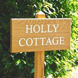Personalised, Wooden, House, Sign, On, Posts, By, Traditional, Wooden, Gifts