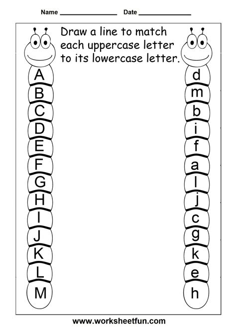 letter recognition worksheets 16 best images of matching uppercase and lowercase 23056