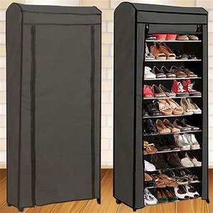 etagere range chaussures 30 paires eco avec housse grise With meuble chaussure grande capacite 13 etagere chaussures 30 paires