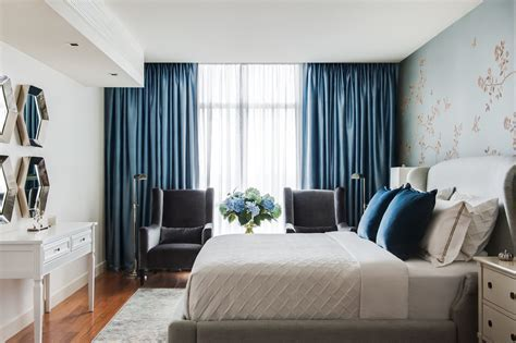 Navy blue curtains bedroom transitional with upholstered