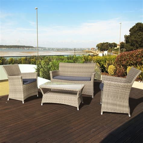 Oseasons Eden Rattan 4 Seater Lounge Set In Champagne