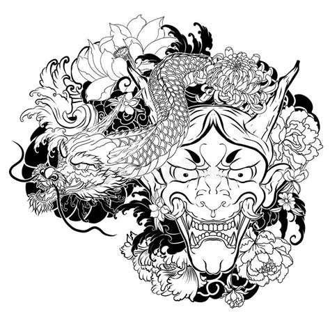Japanese Old Dragon Tattoo For Arm Hand Drawn Oni Mask