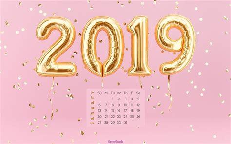 Pink 2019 Desktop Calendar- Free January