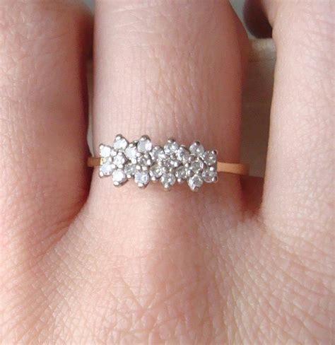 vintage flower engagement ring 18k gold