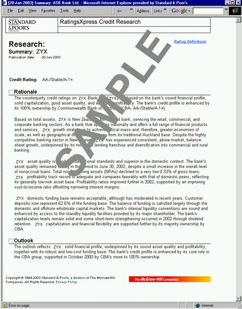 Exles Of What To Write In The Summary Of A Resume by S P Ratingsxpress Credit Research Sle