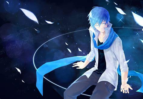 blue blue blue hair kaito magic scarf
