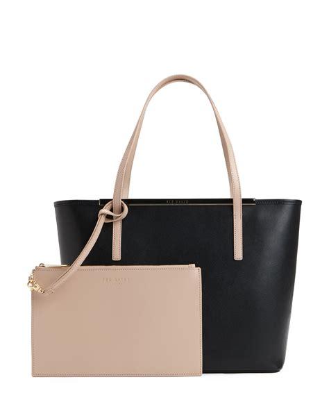 large bag ted baker elsiee large crosshatch shopper bag in black lyst