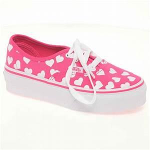 Vans Vans Authentic Canvas Pink Hearts Lace Up Girls Shoes ...