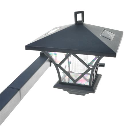 Black Led Solar Powered 5 Ft Traditional Garden Lamp Post