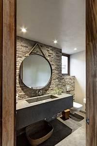 Miroir Rond à Suspendre : id e d coration salle de bain spots large vasque ~ Teatrodelosmanantiales.com Idées de Décoration