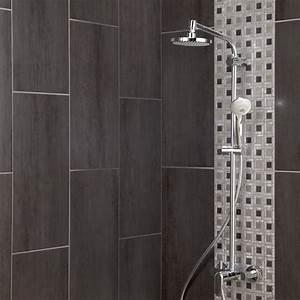 carrelage sol et mur gris fonce eiffel l30 x l604 cm With porte d entrée pvc avec faience decorative salle de bain
