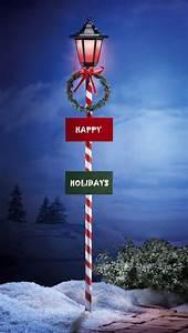 Solar, Happy, Holidays, Lamp, Post