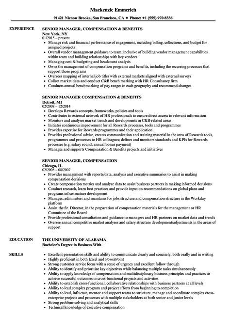 senior manager compensation resume samples velvet jobs