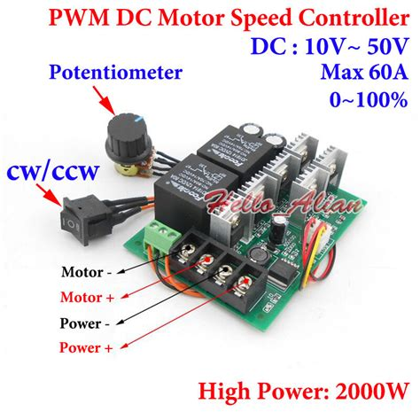 dc motor speed controller cw ccw reversible switch dc 10 50v 12v 24v 48v 60a pwm ebay