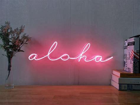 Living Room Bar Aloha by Hawaii Aloha Real Glass Neon Sign For Bedroom Garage Bar