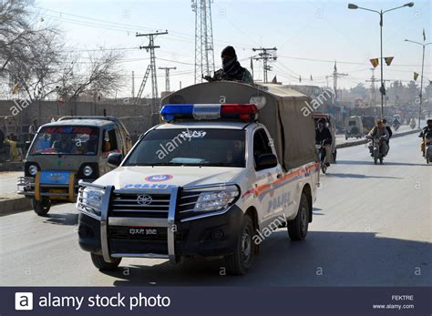 Quetta. 8th Feb, 2016. A Police Car Patrols In Southwest