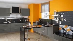 conseils deco cuisine orange et gris With cuisine orange et gris
