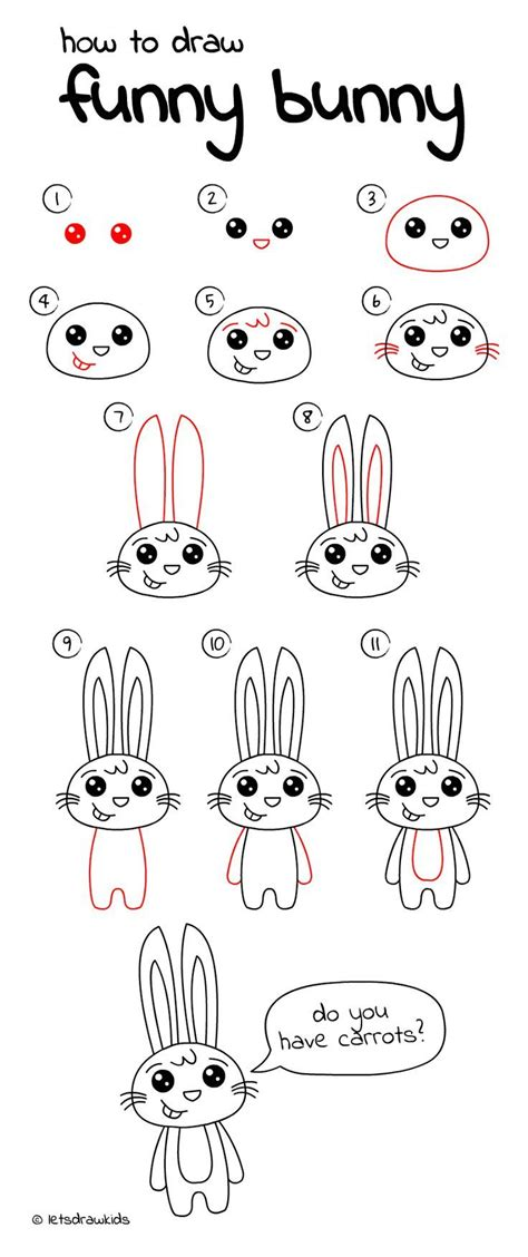 draw funny bunny easy drawing step  step