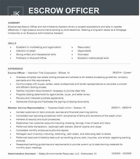 Officer Resume by Escrow Officer Resume Sle Officer Resumes Livecareer