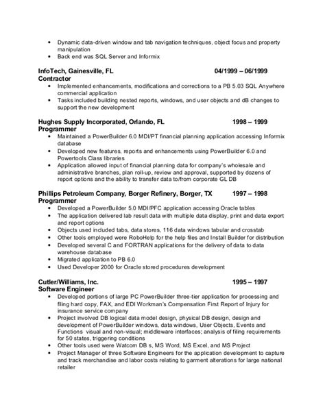 Powerbuilder Resumes by Pfc Powerbuilder Resume