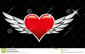 Red Heart Love Crests With Wings Stock Vector ...