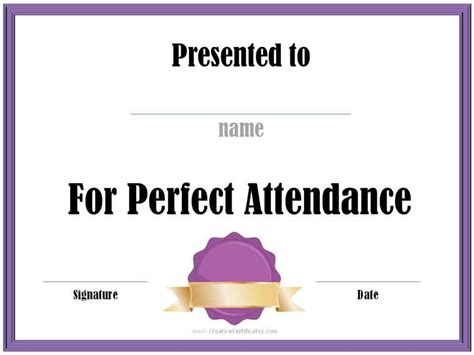 perfect attendance award certificates  instant