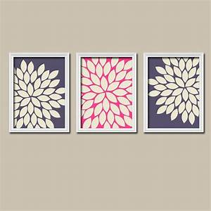 navy pink cream flower burst dahlia bloom artwork set by With kitchen colors with white cabinets with gerbera daisy wall art