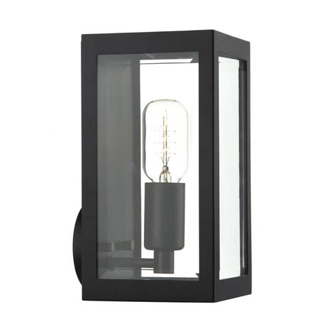 black rectangular box shaped wall lantern for indoor or outdoor use