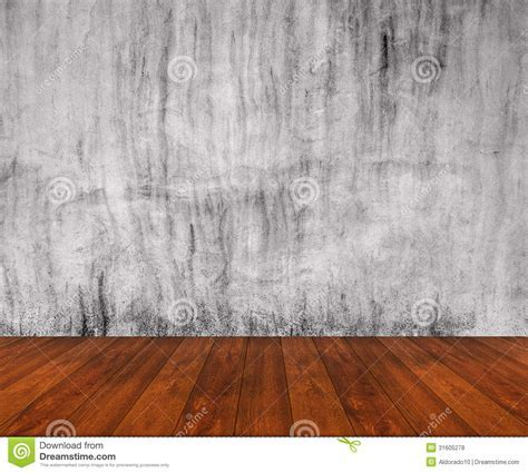 Wooden Floor With Concrete Wall Stock Photo   Image: 31605278