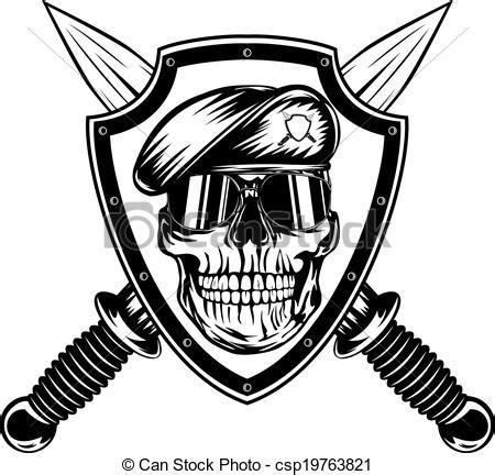 vector illustration of skull in shield and daggers vector illustration crossed csp19763821