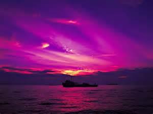Purple Sky Beach Sunset