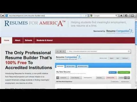 Free Resume Builder For Veterans by Free Resume Builder For Students And Veterans Resumes For America